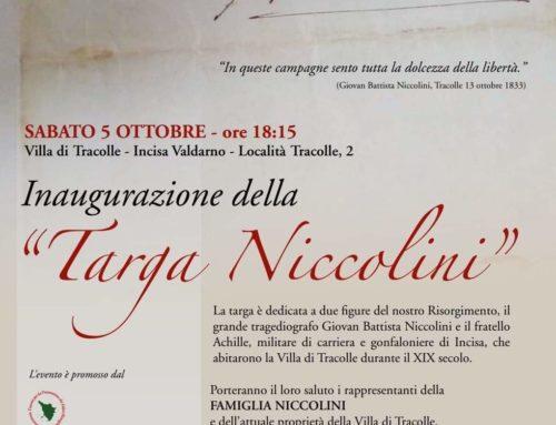 """Inaugurazione della """"Targa Niccolini"""""""